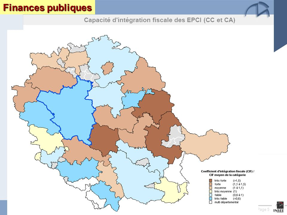 Page 5 Le Tarn : enjeux et perspectives DRAF DRE DIREN INSEEseptembre 2005 Finances publiques Capacité d intégration fiscale des EPCI (CC et CA)