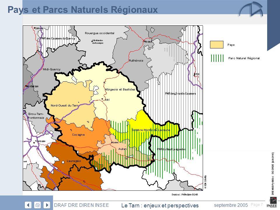 Page 8 Le Tarn : enjeux et perspectives DRAF DRE DIREN INSEEseptembre 2005 Pays et parcs naturels régionaux La création des pays assez délicate a mettre en place dans le département est aujourdhui achevée.