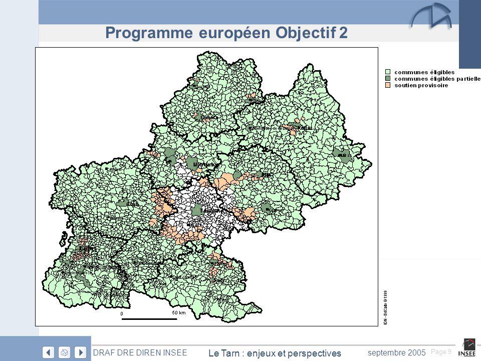 Page 9 Le Tarn : enjeux et perspectives DRAF DRE DIREN INSEEseptembre 2005 Programme européen Objectif 2