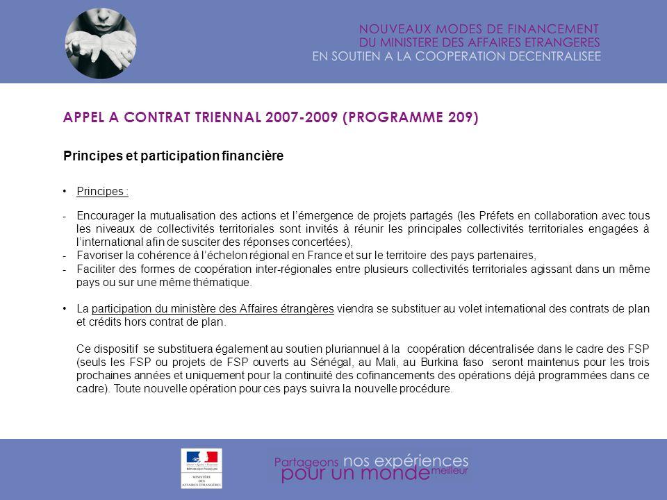 Thématiques APPEL A CONTRAT TRIENNAL 2007-2009 (PROGRAMME 209) Des thématiques daction précises : Ces thématiques ont été retenues du fait de leur caractère complémentaire avec les actions menées par lEtat et de leur spécificité en relation avec les compétences des collectivités territoriales.