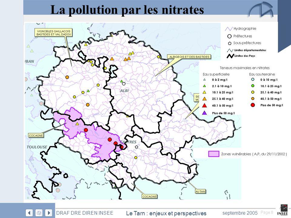 Page 8 Le Tarn : enjeux et perspectives DRAF DRE DIREN INSEEseptembre 2005 La pollution par les nitrates