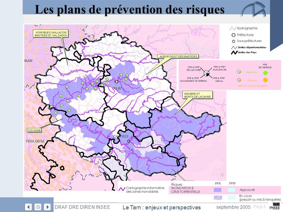 Page 9 Le Tarn : enjeux et perspectives DRAF DRE DIREN INSEEseptembre 2005 Les plans de prévention des risques