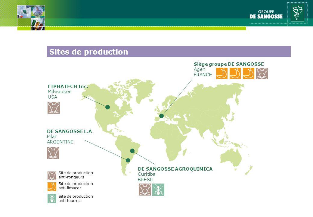 Site de production anti-limaces Site de production anti-rongeurs Siège groupe DE SANGOSSE Agen FRANCE DE SANGOSSE AGROQUIMICA Curitiba BRÉSIL LIPHATECH Inc.