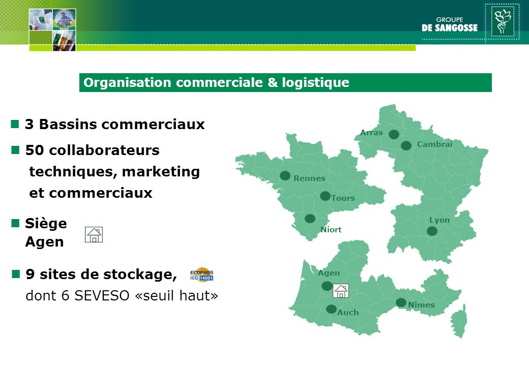 n 50 collaborateurs techniques, marketing et commerciaux n 3 Bassins commerciaux Arras Rennes Cambrai Tours Lyon Niort Auch Nîmes n 9 sites de stockag