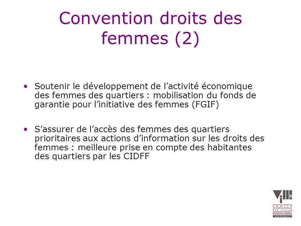 Convention droits des femmes (2) Soutenir le développement de lactivité économique des femmes des quartiers : mobilisation du fonds de garantie pour linitiative des femmes (FGIF) Sassurer de laccès des femmes des quartiers prioritaires aux actions dinformation sur les droits des femmes : meilleure prise en compte des habitantes des quartiers par les CIDFF