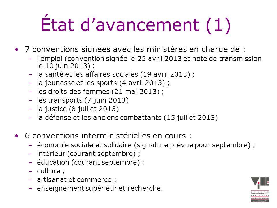 État davancement (1) 7 conventions signées avec les ministères en charge de : –lemploi (convention signée le 25 avril 2013 et note de transmission le 10 juin 2013) ; –la santé et les affaires sociales (19 avril 2013) ; –la jeunesse et les sports (4 avril 2013) ; –les droits des femmes (21 mai 2013) ; –les transports (7 juin 2013) –la justice (8 juillet 2013) –la défense et les anciens combattants (15 juillet 2013) 6 conventions interministérielles en cours : –économie sociale et solidaire (signature prévue pour septembre) ; –intérieur (courant septembre) ; –éducation (courant septembre) ; –culture ; –artisanat et commerce ; –enseignement supérieur et recherche.