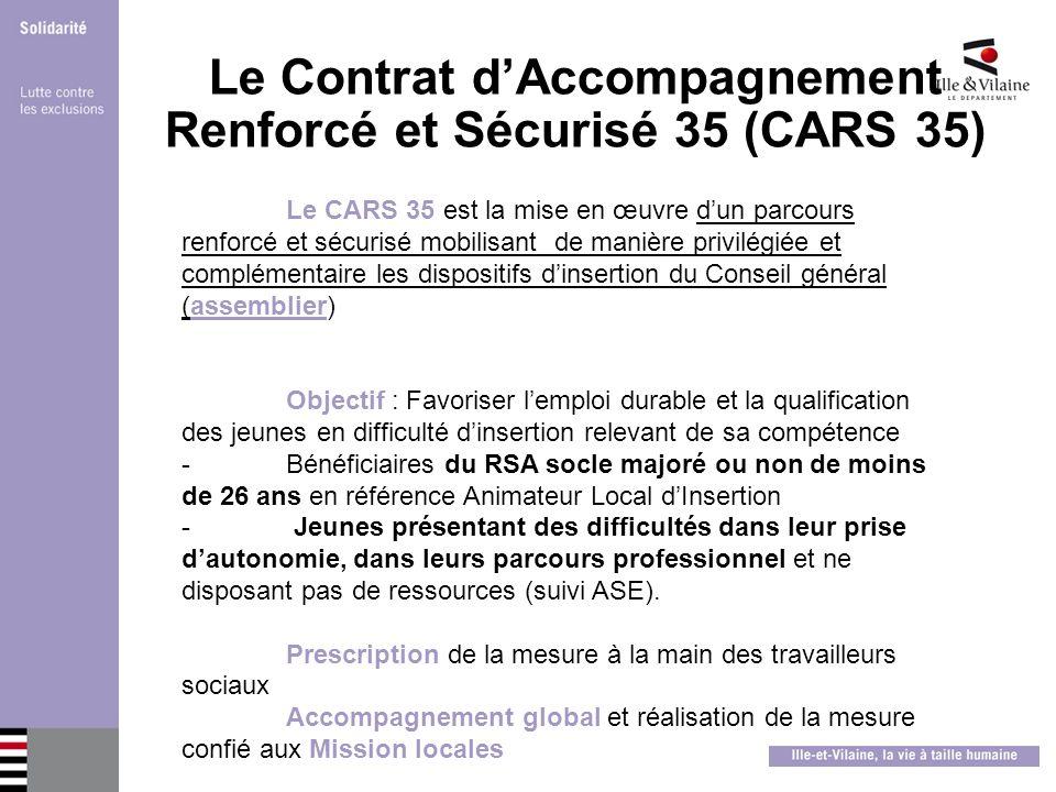 Le Contrat dAccompagnement Renforcé et Sécurisé 35 (CARS 35) Le CARS 35 est la mise en œuvre dun parcours renforcé et sécurisé mobilisant de manière p