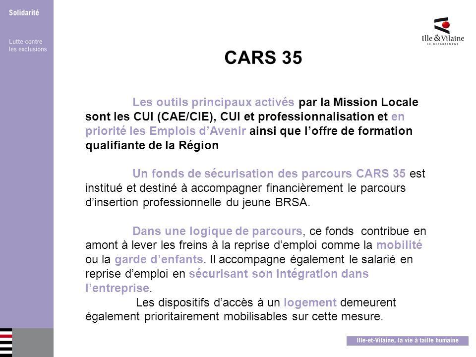 CARS 35 Les outils principaux activés par la Mission Locale sont les CUI (CAE/CIE), CUI et professionnalisation et en priorité les Emplois dAvenir ain