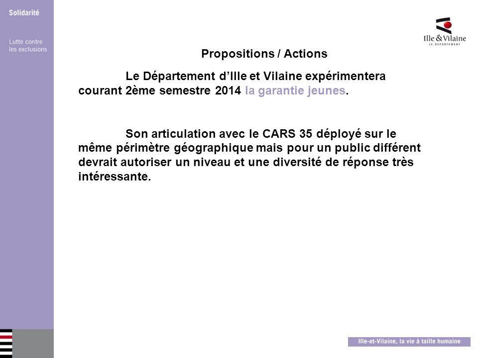 Propositions / Actions Le Département dIlle et Vilaine expérimentera courant 2ème semestre 2014 la garantie jeunes. Son articulation avec le CARS 35 d
