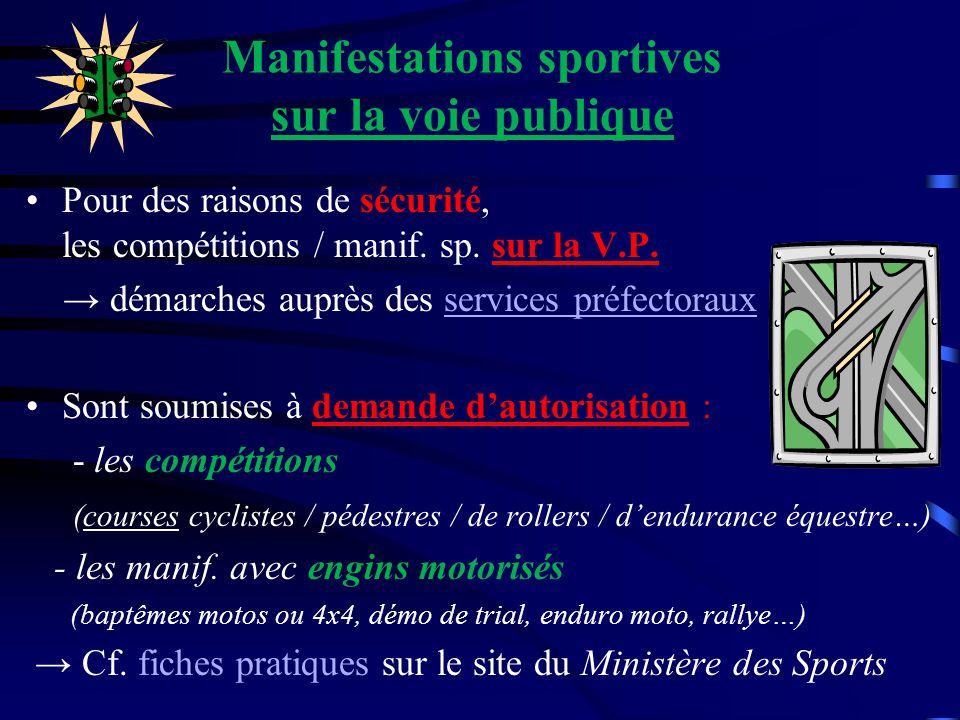 Manifestations sportives sur la voie publique Pour des raisons de sécurité, les compétitions / manif. sp. sur la V.P. démarches auprès des services pr