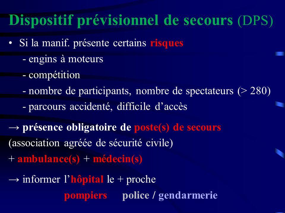 Dispositif prévisionnel de secours (DPS) Si la manif. présente certains risques - engins à moteurs - compétition - nombre de participants, nombre de s