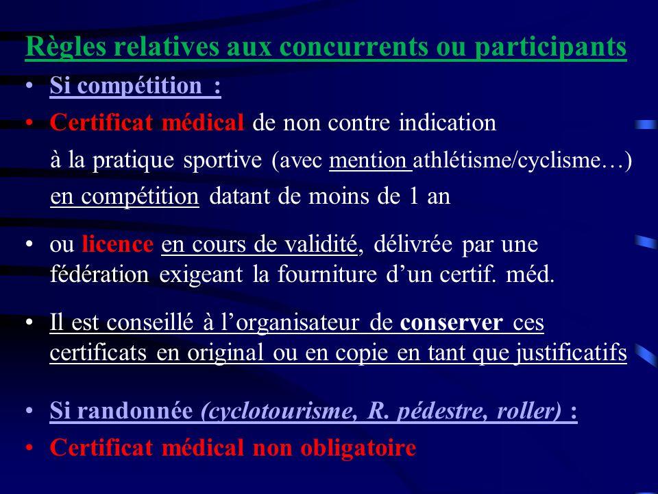 Règles relatives aux concurrents ou participants Si compétition : Certificat médical de non contre indication à la pratique sportive (avec mention ath