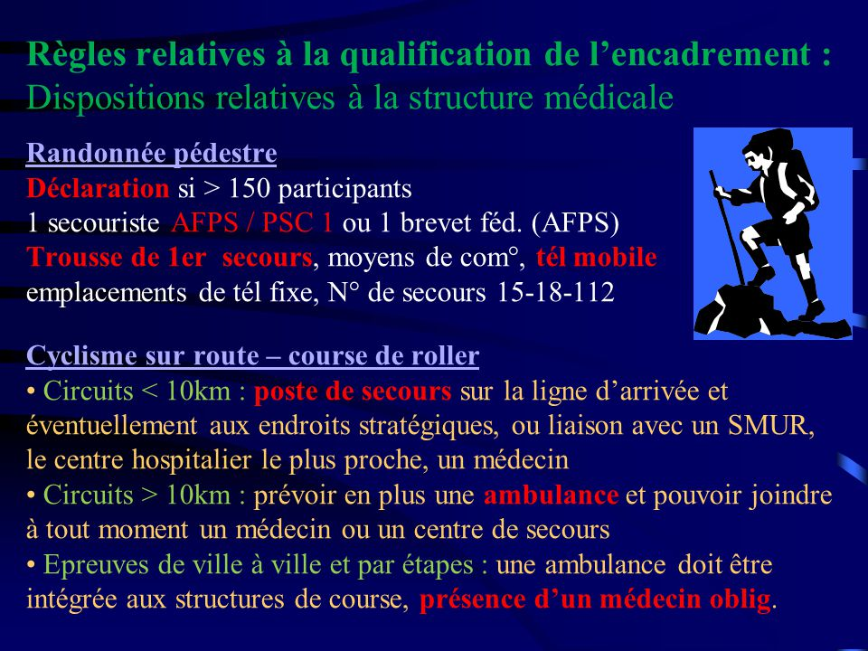 Règles relatives à la qualification de lencadrement : Dispositions relatives à la structure médicale Randonnée pédestre Déclaration si > 150 participa