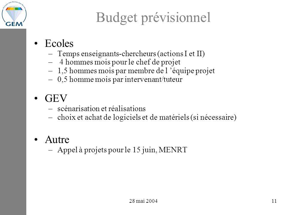 projets GEV : avancements 28 mai 200411 Budget prévisionnel Ecoles –Temps enseignants-chercheurs (actions I et II) – 4 hommes mois pour le chef de projet –1,5 hommes mois par membre de l équipe projet –0,5 homme mois par intervenant/tuteur GEV –scénarisation et réalisations –choix et achat de logiciels et de matériels (si nécessaire) Autre –Appel à projets pour le 15 juin, MENRT