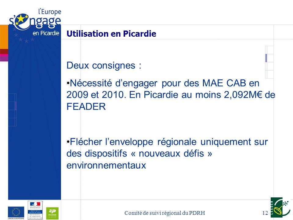 12 Utilisation en Picardie Deux consignes : Nécessité dengager pour des MAE CAB en 2009 et 2010.