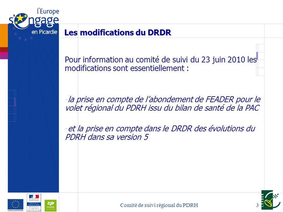 Comité de suivi régional du PDRH3 Les modifications du DRDR Pour information au comité de suivi du 23 juin 2010 les modifications sont essentiellement : -la prise en compte de labondement de FEADER pour le volet régional du PDRH issu du bilan de santé de la PAC -et la prise en compte dans le DRDR des évolutions du PDRH dans sa version 5