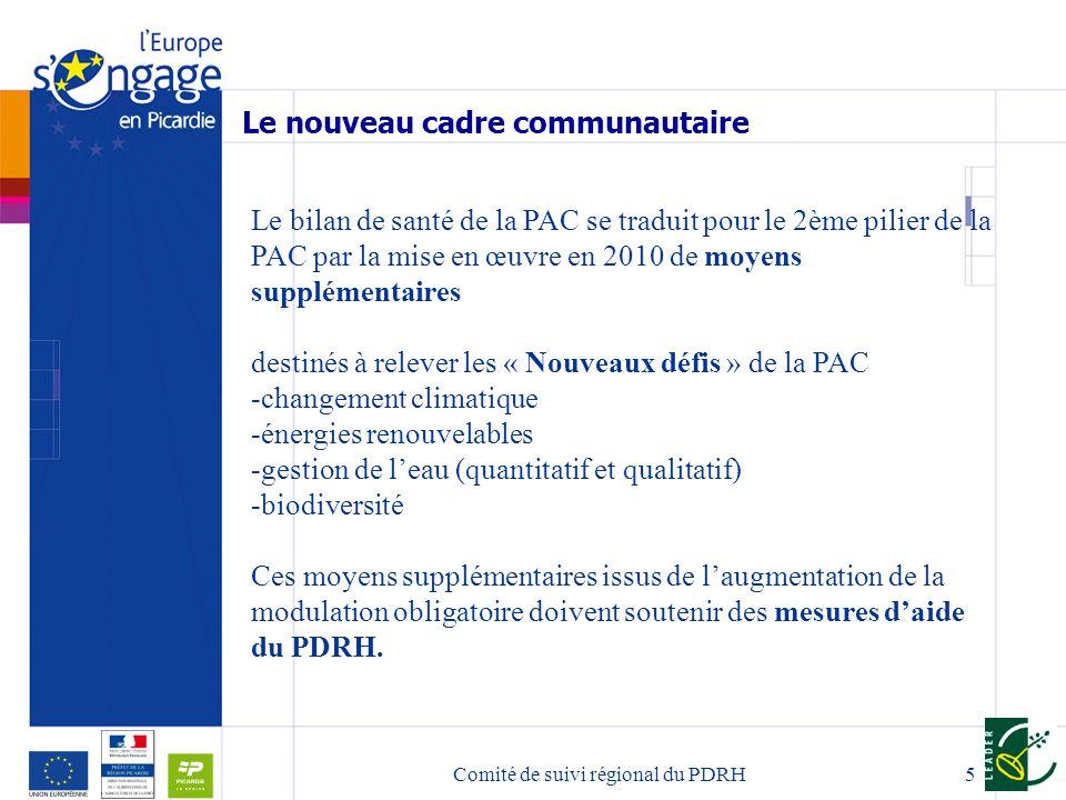 5 Le bilan de santé de la PAC se traduit pour le 2ème pilier de la PAC par la mise en œuvre en 2010 de moyens supplémentaires destinés à relever les « Nouveaux défis » de la PAC -changement climatique -énergies renouvelables -gestion de leau (quantitatif et qualitatif) -biodiversité Ces moyens supplémentaires issus de laugmentation de la modulation obligatoire doivent soutenir des mesures daide du PDRH.