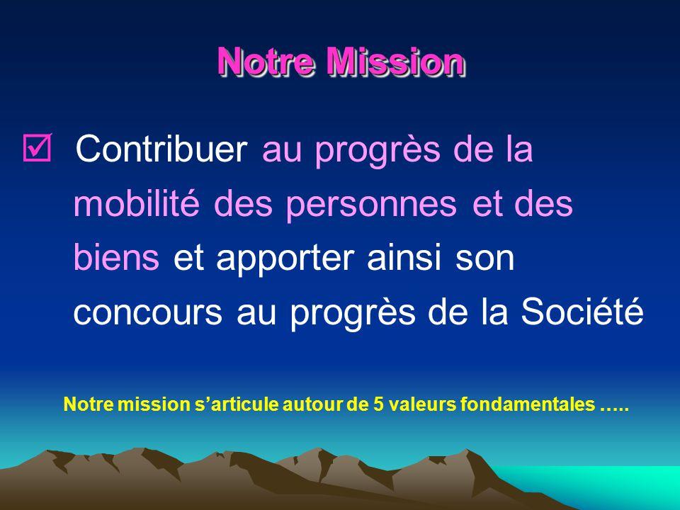 Notre Mission Contribuer au progrès de la mobilité des personnes et des biens et apporter ainsi son concours au progrès de la Société Notre mission sa