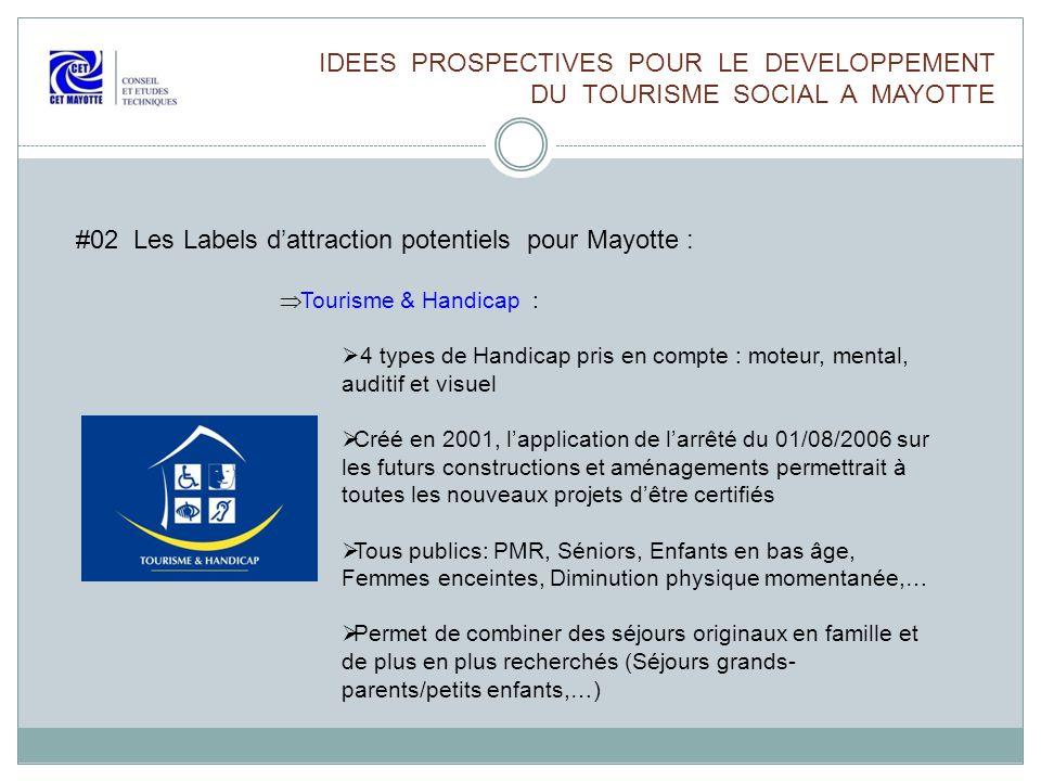 IDEES PROSPECTIVES POUR LE DEVELOPPEMENT DU TOURISME SOCIAL A MAYOTTE #02 Les Labels dattraction potentiels pour Mayotte : Tourisme & Handicap : 4 typ