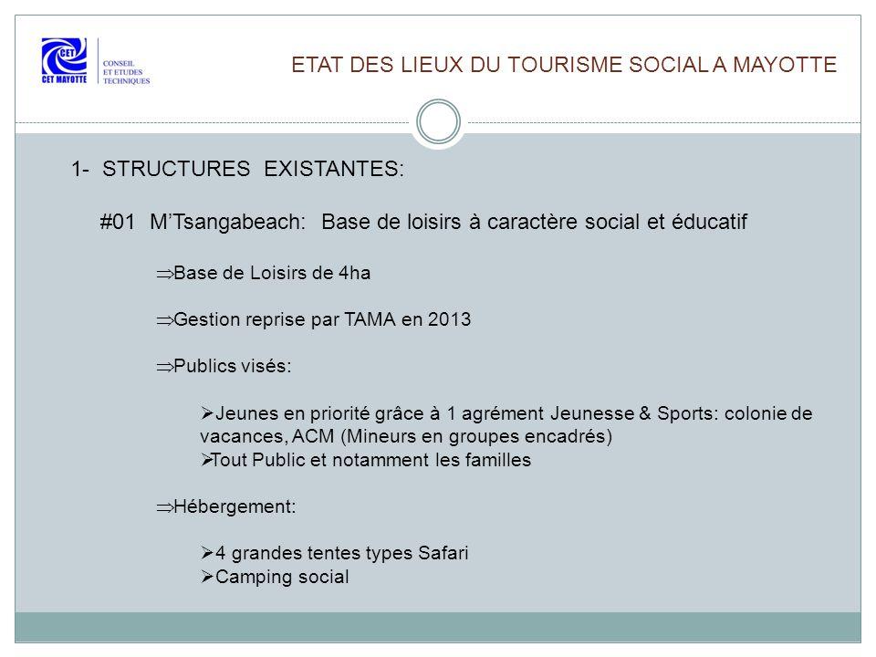 ETAT DES LIEUX DU TOURISME SOCIAL A MAYOTTE 1- STRUCTURES EXISTANTES: #01 MTsangabeach: Base de loisirs à caractère social et éducatif Base de Loisirs