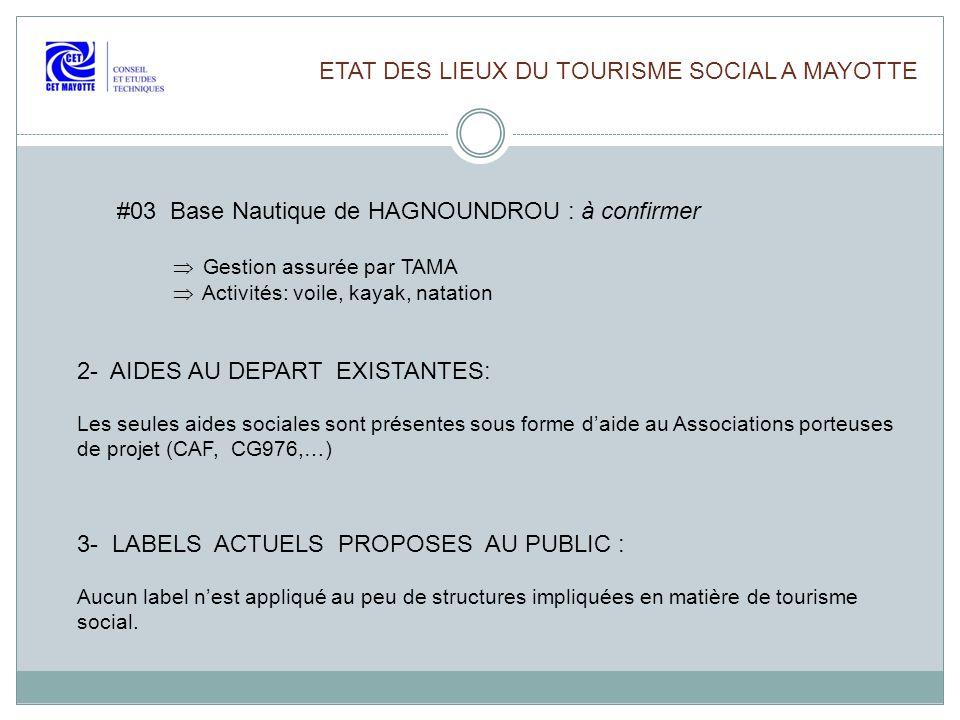 ETAT DES LIEUX DU TOURISME SOCIAL A MAYOTTE #03 Base Nautique de HAGNOUNDROU : à confirmer Gestion assurée par TAMA Activités: voile, kayak, natation
