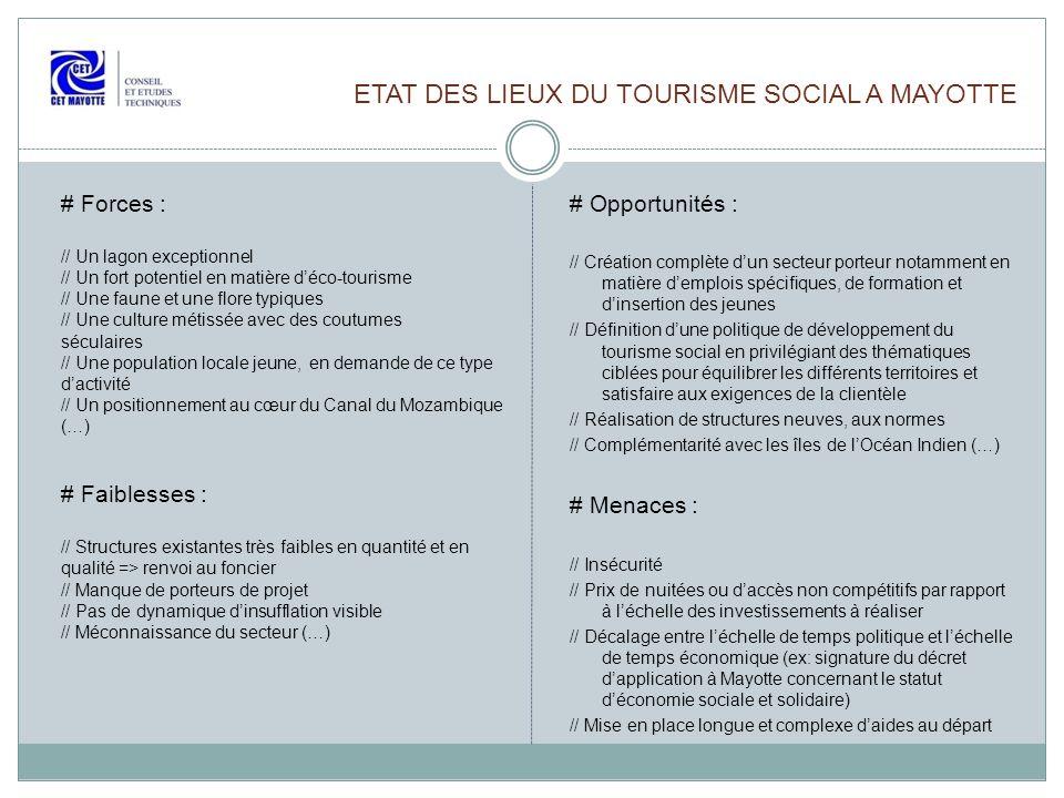 ETAT DES LIEUX DU TOURISME SOCIAL A MAYOTTE # Opportunités : // Création complète dun secteur porteur notamment en matière demplois spécifiques, de fo