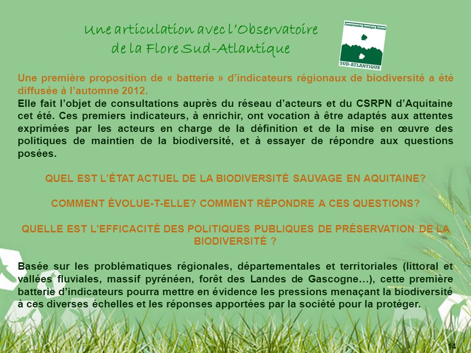 Une articulation avec lObservatoire de la Flore Sud-Atlantique Une première proposition de « batterie » dindicateurs régionaux de biodiversité a été diffusée à lautomne 2012.