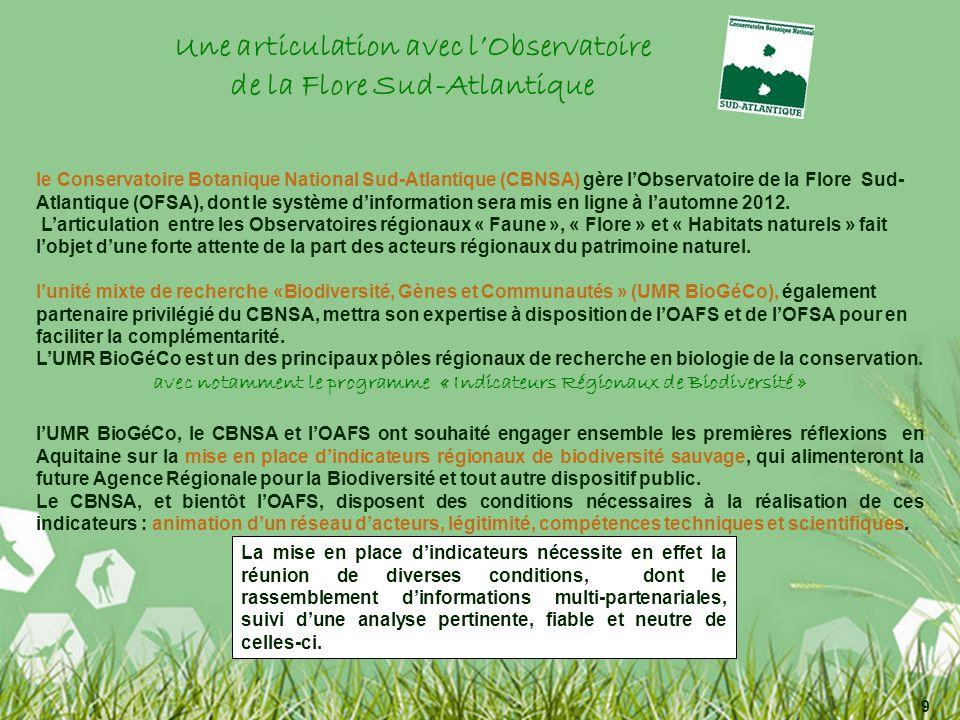 le Conservatoire Botanique National Sud-Atlantique (CBNSA) gère lObservatoire de la Flore Sud- Atlantique (OFSA), dont le système dinformation sera mis en ligne à lautomne 2012.