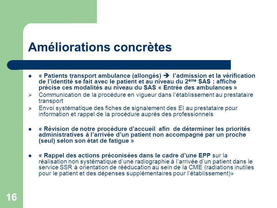 16 Améliorations concrètes « Patients transport ambulance (allongés) ladmission et la vérification de lidentité se fait avec le patient et au niveau d