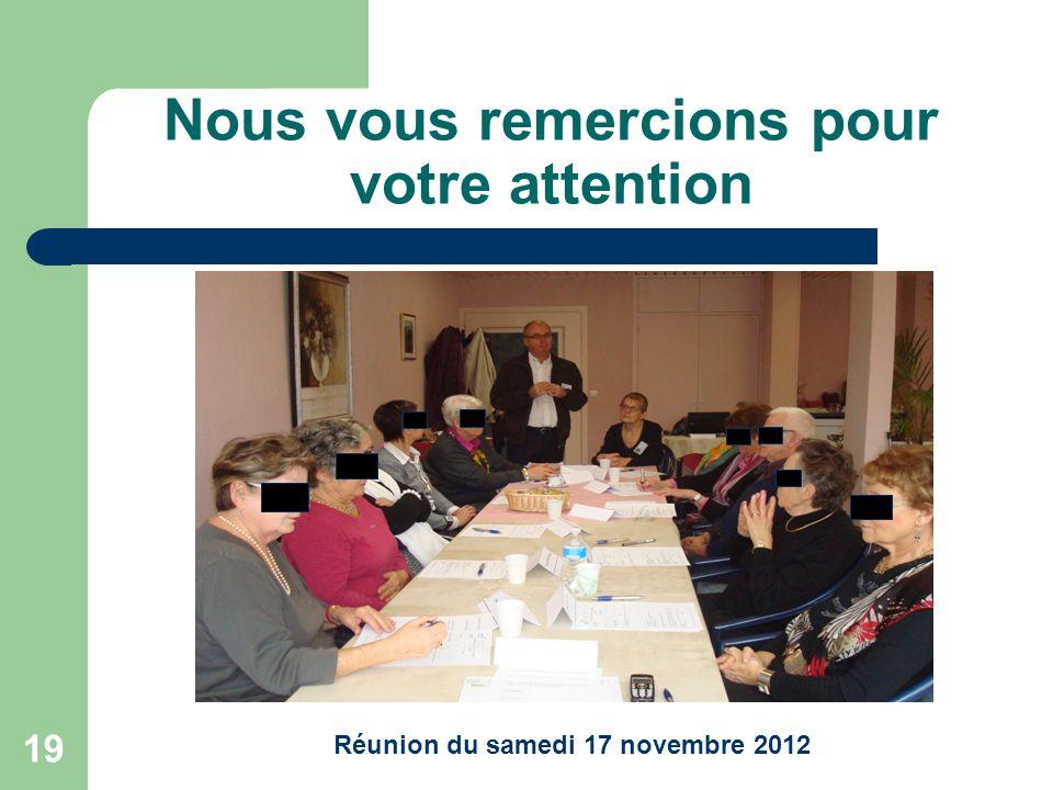 19 Nous vous remercions pour votre attention Réunion du samedi 17 novembre 2012