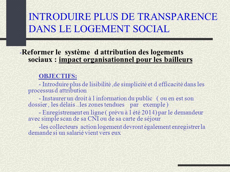 INTRODUIRE PLUS DE TRANSPARENCE DANS LE LOGEMENT SOCIAL - Reformer le système d attribution des logements sociaux : impact organisationnel pour les ba