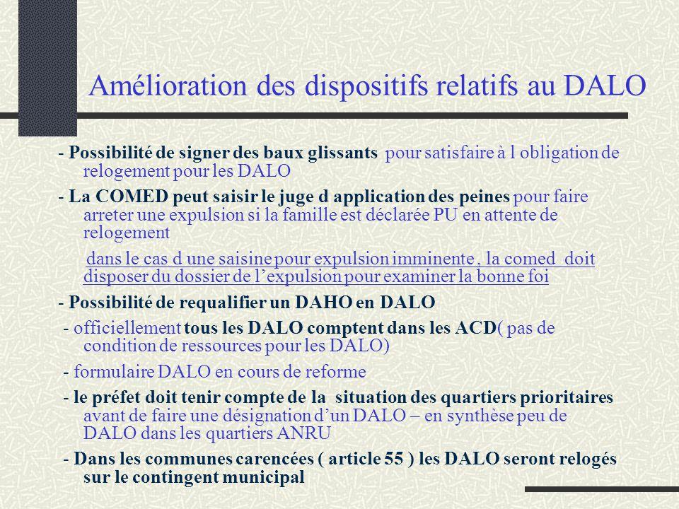 Amélioration des dispositifs relatifs au DALO - Possibilité de signer des baux glissants pour satisfaire à l obligation de relogement pour les DALO -