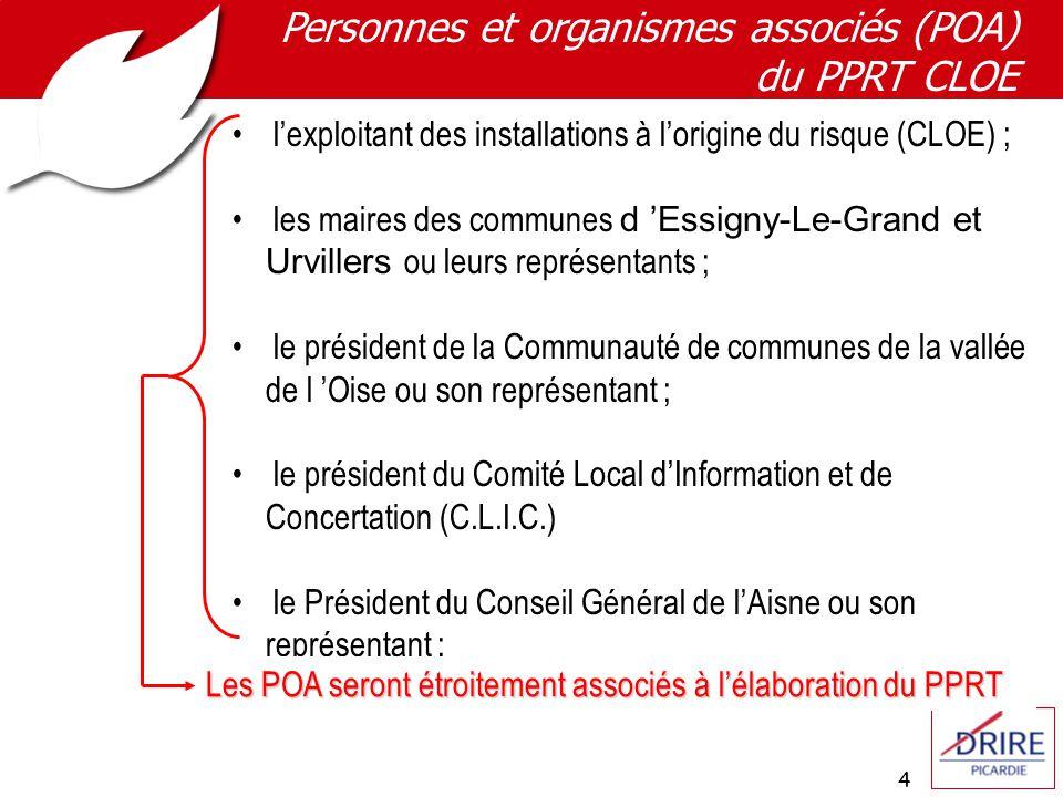 4 Personnes et organismes associés (POA) du PPRT CLOE lexploitant des installations à lorigine du risque (CLOE) ; les maires des communes d Essigny-Le-Grand et Urvillers ou leurs représentants ; le président de la Communauté de communes de la vallée de l Oise ou son représentant ; le président du Comité Local dInformation et de Concertation (C.L.I.C.) le Président du Conseil Général de lAisne ou son représentant ; Les POA seront étroitement associés à lélaboration du PPRT