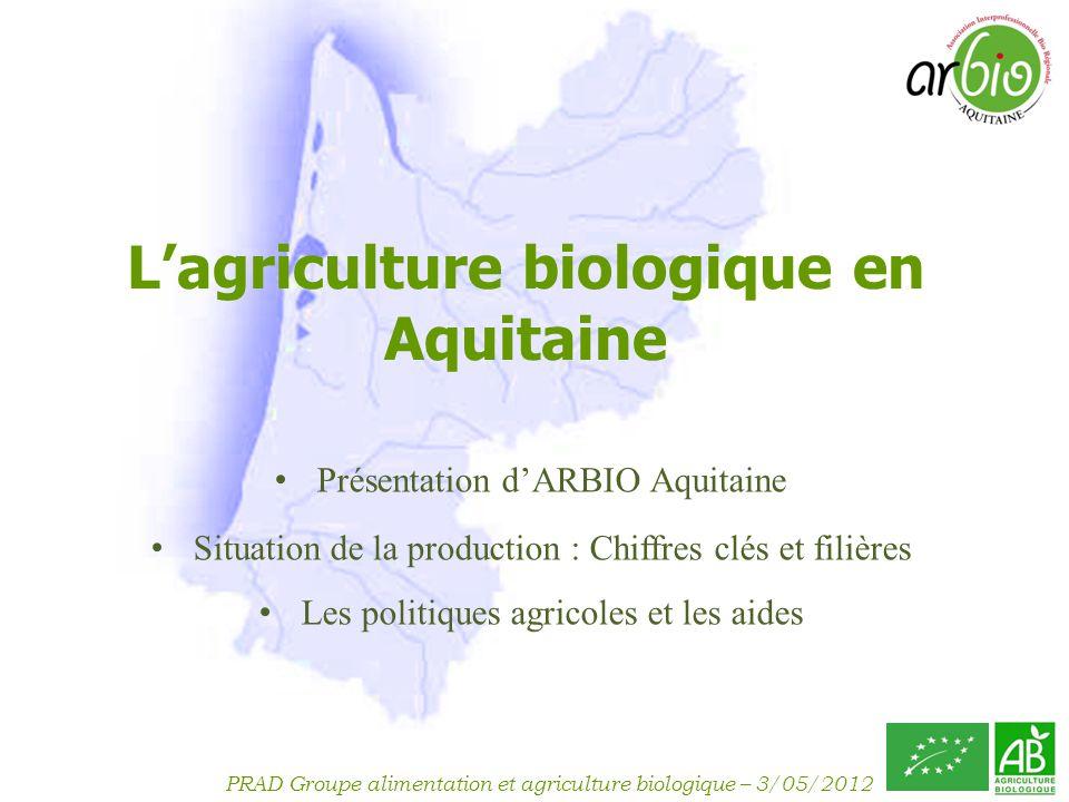 PRAD Groupe alimentation et agriculture biologique – 3/05/2012 ARBIO Aquitaine Association Interprofessionnelle bio régionale