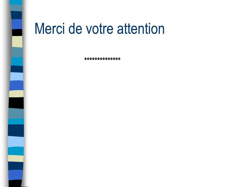 Merci de votre attention **************