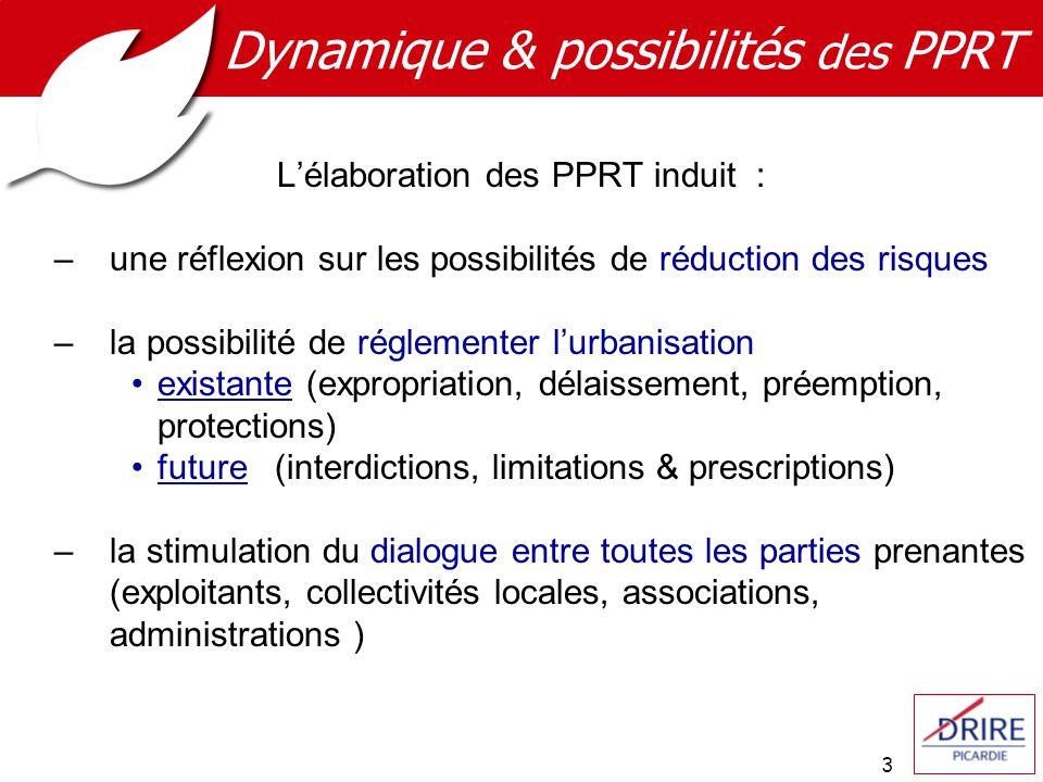 3 Dynamique & possibilités des PPRT Lélaboration des PPRT induit : –une réflexion sur les possibilités de réduction des risques –la possibilité de rég
