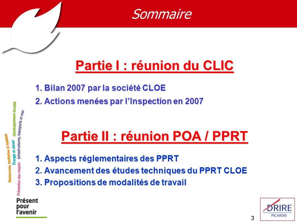 3 Sommaire Partie I : réunion du CLIC 1. Bilan 2007 par la société CLOE 2. Actions menées par lInspection en 2007 Partie II : réunion POA / PPRT 1. As
