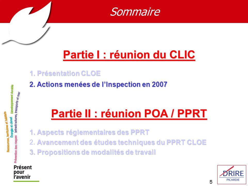 5 Sommaire Partie I : réunion du CLIC 1. Présentation CLOE 2. Actions menées de lInspection en 2007 Partie II : réunion POA / PPRT 1. Aspects réglemen