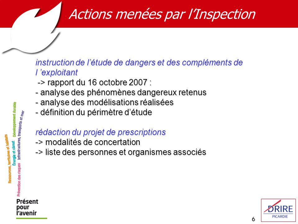 6 Actions menées par lInspection instruction de létude de dangers et des compléments de l exploitant -> rapport du 16 octobre 2007 : -> rapport du 16