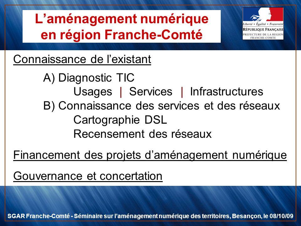 Laménagement numérique en région Franche-Comté Connaissance de lexistant A) Diagnostic TIC Usages | Services | Infrastructures B) Connaissance des ser