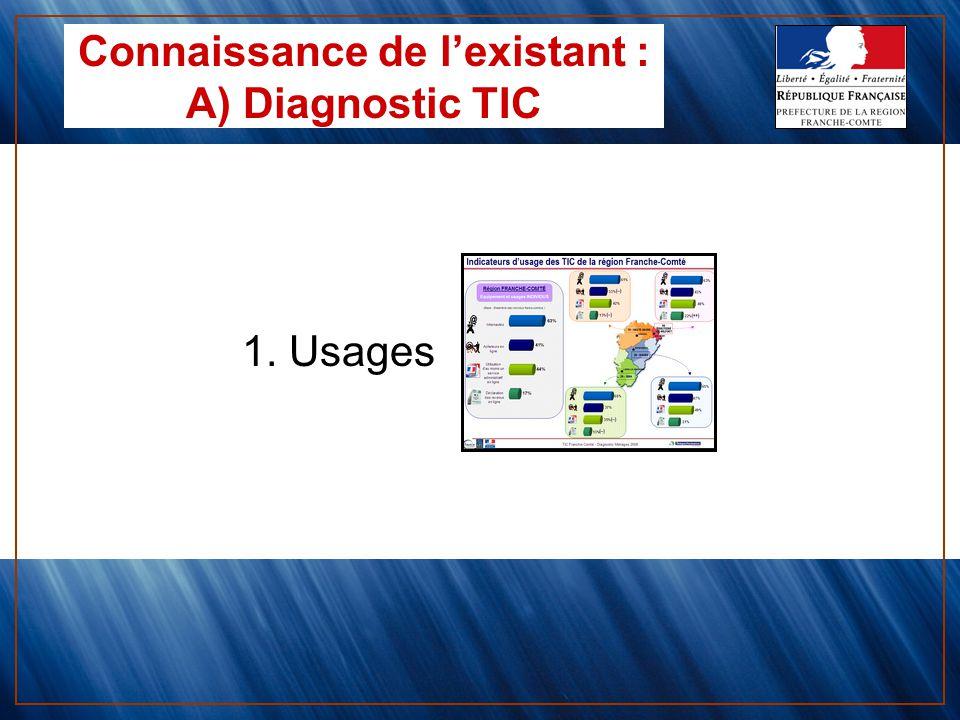1. Usages Connaissance de lexistant : A) Diagnostic TIC