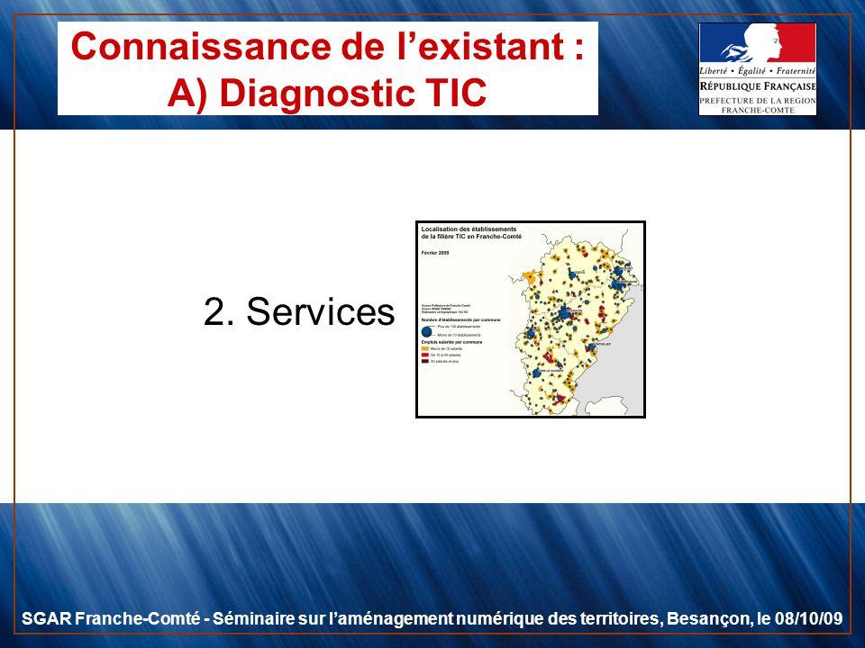 2. Services SGAR Franche-Comté - Séminaire sur laménagement numérique des territoires, Besançon, le 08/10/09 Connaissance de lexistant : A) Diagnostic