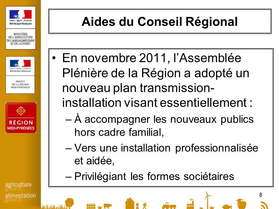 8 Aides du Conseil Régional En novembre 2011, lAssemblée Plénière de la Région a adopté un nouveau plan transmission- installation visant essentiellement : –À accompagner les nouveaux publics hors cadre familial, –Vers une installation professionnalisée et aidée, –Privilégiant les formes sociétaires