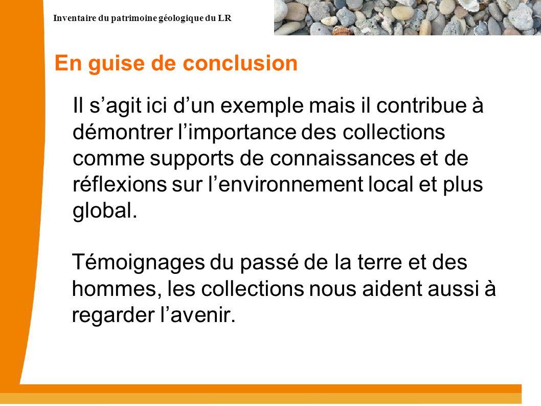 Inventaire du patrimoine géologique du LR 14 En guise de conclusion Il sagit ici dun exemple mais il contribue à démontrer limportance des collections