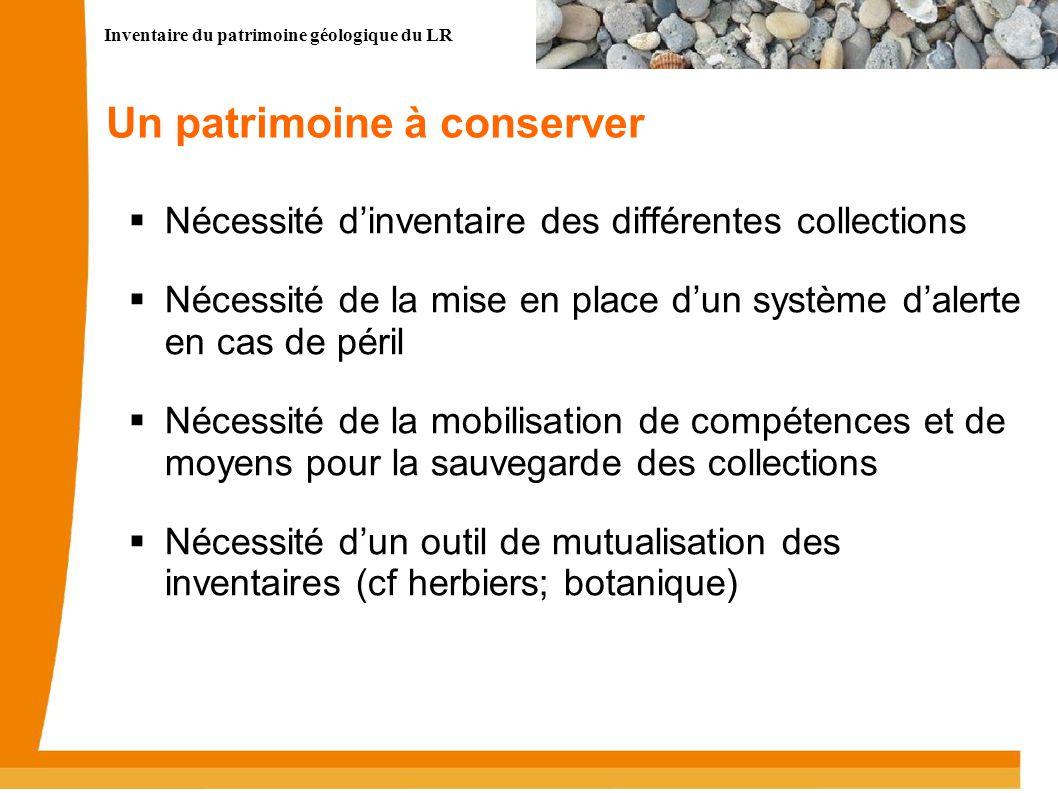 Inventaire du patrimoine géologique du LR 8 Un patrimoine à conserver Nécessité dinventaire des différentes collections Nécessité de la mise en place
