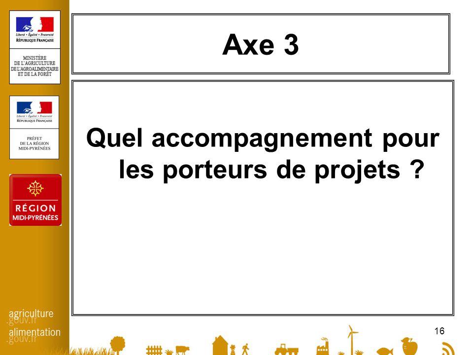 16 Axe 3 Quel accompagnement pour les porteurs de projets ?