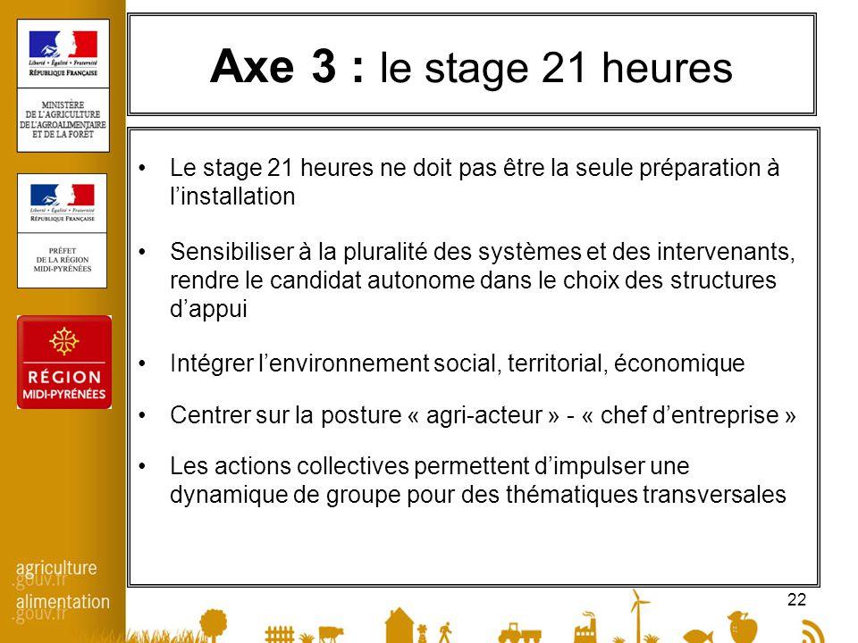 22 Axe 3 : le stage 21 heures Le stage 21 heures ne doit pas être la seule préparation à linstallation Sensibiliser à la pluralité des systèmes et des