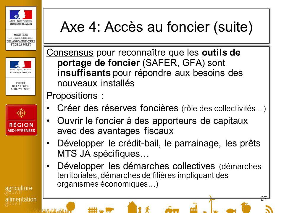 27 Axe 4: Accès au foncier (suite) Consensus pour reconnaître que les outils de portage de foncier (SAFER, GFA) sont insuffisants pour répondre aux be