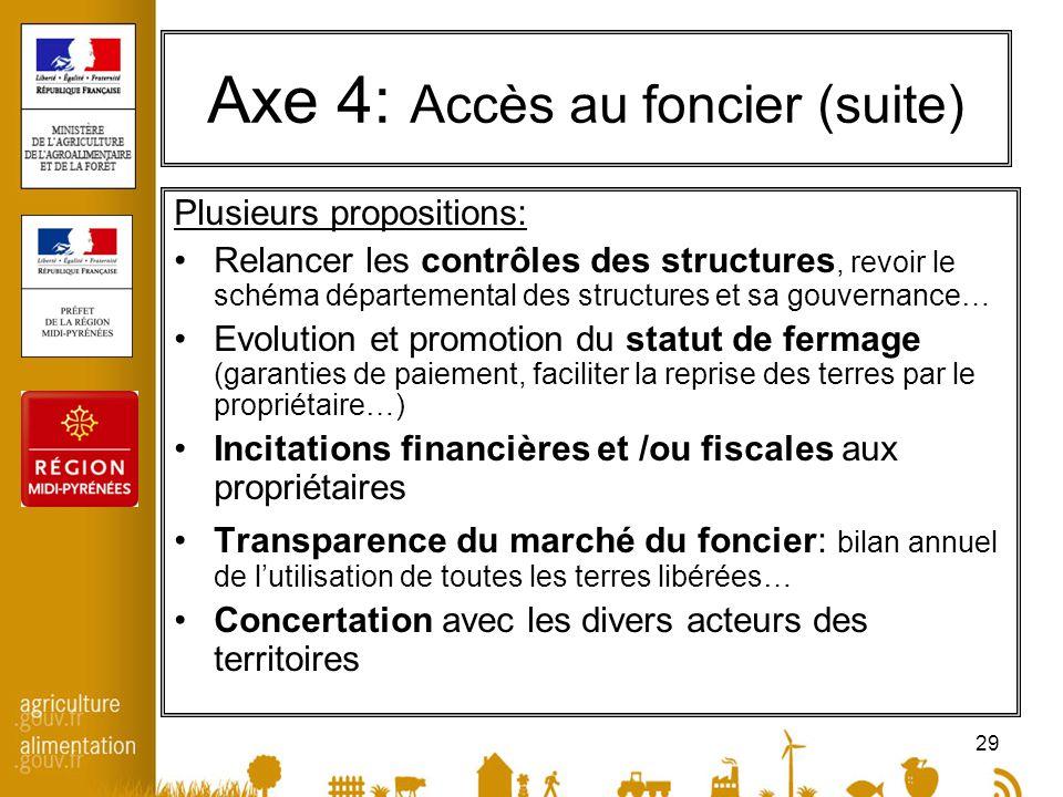 29 Axe 4: Accès au foncier (suite) Plusieurs propositions: Relancer les contrôles des structures, revoir le schéma départemental des structures et sa