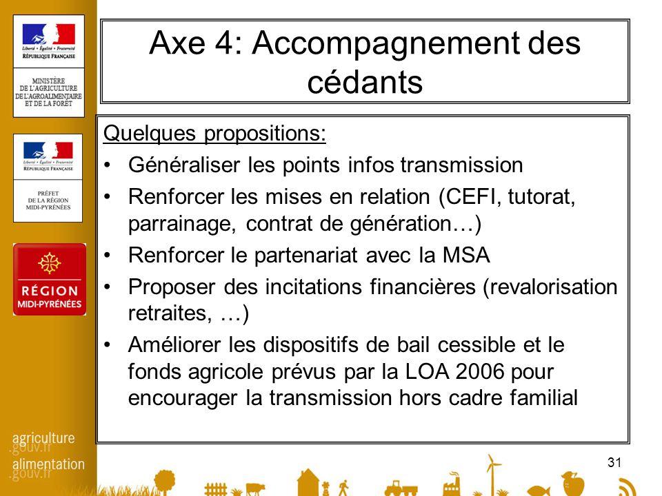 31 Axe 4: Accompagnement des cédants Quelques propositions: Généraliser les points infos transmission Renforcer les mises en relation (CEFI, tutorat,